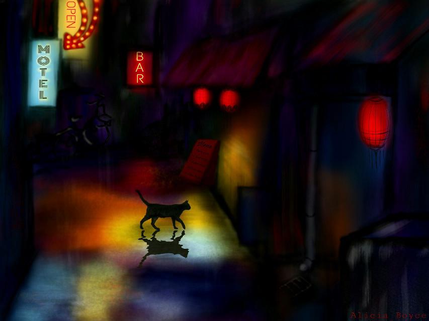 :)  Timelapse video: https://youtu.be/34AejIO2bP4   #drawing #cat #wdpblackcat #pets&animals  #street #colorful #night  #art