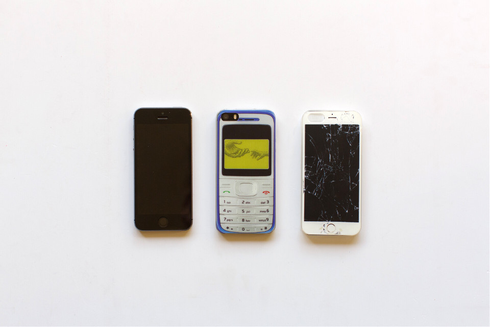 #FreeToEdit #phone #mobile #iphone #nokia #old #new #wrecked #grig15  #white #background