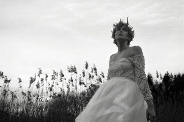 blackandwhite woman nature outdoors windy
