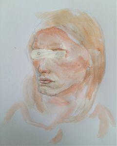 funny watercolor pencil portrait drawing