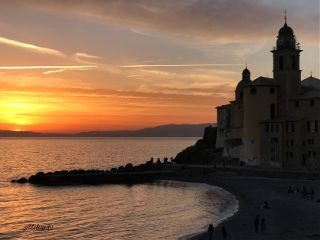 italy camogli sunset backlight sea