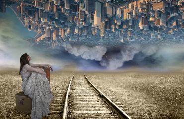 freetoedit city woman traintrack